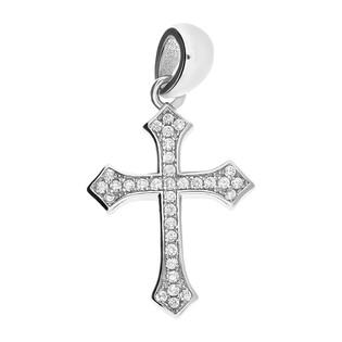 Krzyżyk srebrny z cyrkoniami ramiona w szpic AT-269 próba 925