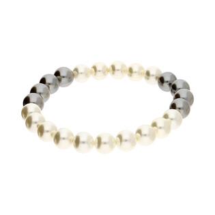 Bransoleta z białych i czarnych pereł EM33