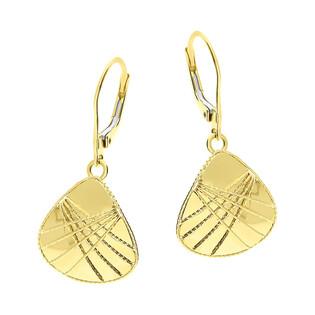 Kolczyki złote trójkąt obły z drucikami/bigiel FL-025 próba 585