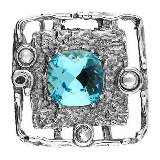 Zawieszka srebrna kwadrat z turkusowym kryształem Swarovski KP 01918 Turquoise próba 925