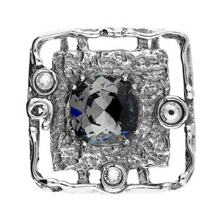 Zawieszka srebrna kwadrat z szarym kryształem Swarovski KP 01918 Silver Night próba 925