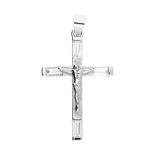 Krzyżyk srebrny wykończony cyrkonią z wizerunkiem nr HS1103 próba 925