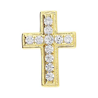 Krzyżyk pozłacany z cyrkoniami ramiona kwadratowe HS435 gold próba 925