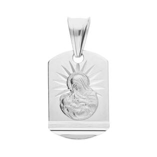 Medalik MB Karmiąca prostokąt obły grawerowany MV GMD002 rod próba 925