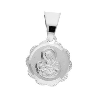Medalik srebrny Matka Boska Karmiąca w kwiatku MV GMD059 próba 925