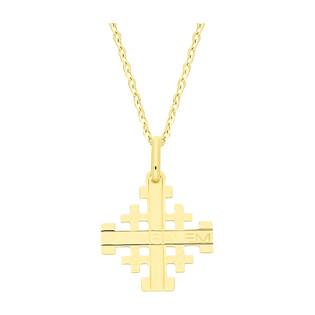 Złoty krzyżyk Jerozolimski z dopasowanym łańcuszkiem M2 C-741+RDOV 030 9K