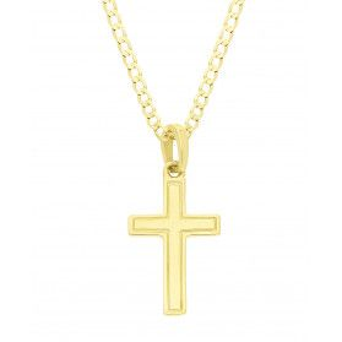 Złoty krzyżyk łaciński z dopasowanym łańcuszkiem M2 P1115-5+GAXPDE 0+1 040 L50