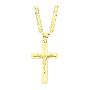 Złoty krzyżyk łaciński z dopasowanym łańcuszkiem M2 P10719 9K+RBPDECO 065