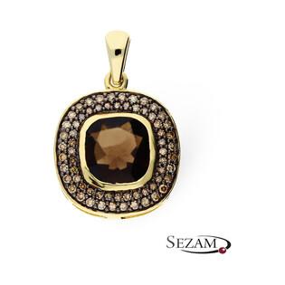 Zawieszka złota z kwarcem dymnym i diamentami KU 1348-1020 SMCH okrągły próba 585