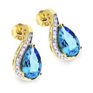 Kolczyki złote z topazem blue i diamentami/sztyft RO AE115-BT łezka próba 585
