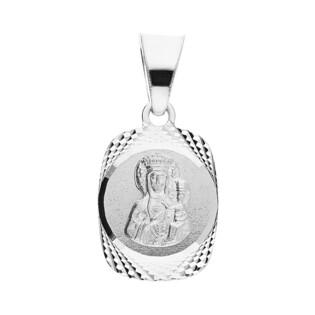 Medalik srebrny Matka Boska Karmiąca w prostokącie MV GMD095 A próba 925