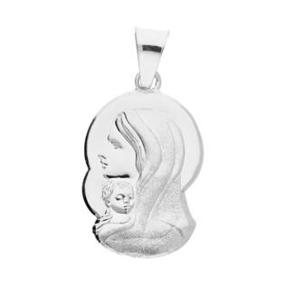 Medalik srebrny Główka Matki Boskiej z Dzieciątkiem MV M193 próba 925