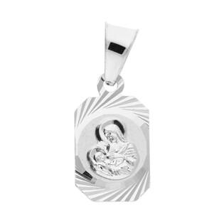 Medalik srebrny Matka Boska Karmiąca w ścinanym prostokącie MV MD385 próba 925