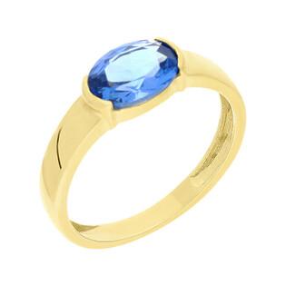 Pierścionek złoty topaz blue poziomy NB 501471 topaz próba 375