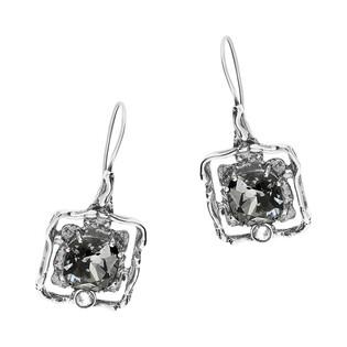 Kolczyki srebrne kwadrat z szarym kryształem Swarovski KP 01919 Silver Night próba 925