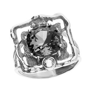 Pierścionek srebrny kwadrat z szarym kryształem Swarovski KP 01920 Silver Night próba 925