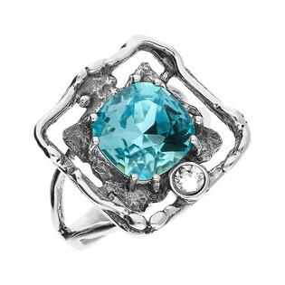 Pierścionek srebrny kwadrat z turkusowym kryształem Swarovski KP 01920 Turquoise próba 925