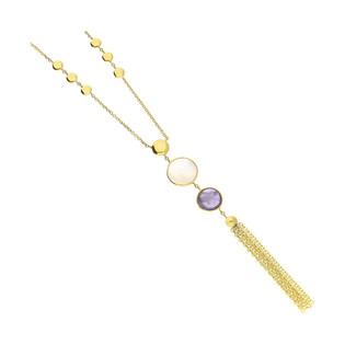 Naszyjnik złoty kółka z masą perłową i ametystem FL-028 próba 585