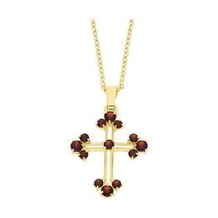 Złoty krzyżyk z granatem z dopasowanym łańcuszkiem M2 96-0006 GRA+R08 040 +serce re próba 585