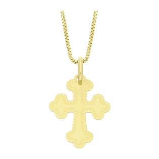 Złoty krzyżyk trójlistny z dopasowanym łańcuszkiem M2 C-784+VEDCO 058 próba 585