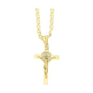 Złoty krzyżyk Benedyktyński z dopasowanym łańcuszkiem M2 C-0850-1+FPBCGDE 100 próba 585