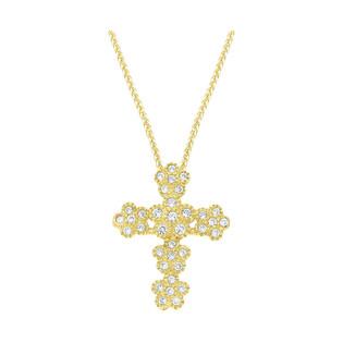 Złoty krzyżyk trójlistny z dopasowanym łańcuszkiem M2 FL206+SPG3D 022 próba 585