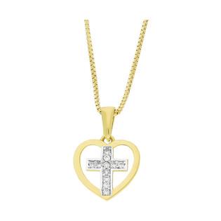 Złoty krzyżyk w sercu z dopasowanym łańcuszkiem M2 T23-P-1339-YW-CZ+VEDCO 050 próba 585