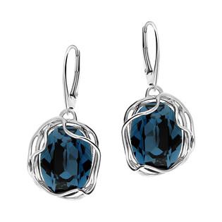 Kolczyki srebrne owal z niebieskim kryształem Swarovski/big.zam. KP 05754 owal Metalic Blue próba 925