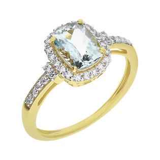 Pierścionek zaręczynowy z akwamarynem i diamentami KU 300320 AQ prostokąt Markiza b próba 585