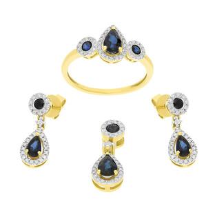 Zestaw złoty z szafirem i diamentami AW 27905 Y-SA krop+okr.Markiza próba 585