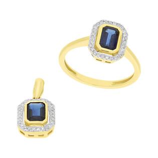 Zestaw złoty pierścionek i kolczyki z szafirem i diamentami AW 36151 Y-SA prostokąt Markiza próba 585