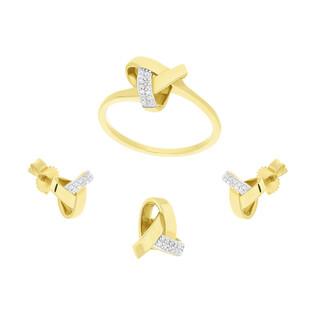 Zestaw złoty z białymi diamentami KU 102405-103187