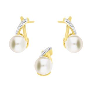 Zestaw 2 - Kolczyki złote z perłą i diamentami nr KU 2883-3048 próba 585