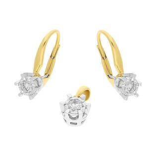 Zestaw złoty z kolczykami i zawieszką z diamentami ROYAL AW 54803 YW-0,19 próba 585