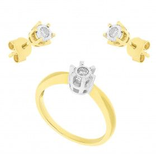 Zestaw złoty kolczyki i zawieszka z diamentami AW 54803 YW-0,18-SZT próba 585