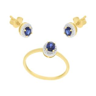 Zestaw złoty kolczyki i pierścionek z szafirem i diamentami AW 60389 Y-SA owal Markiza próba 585 MARKIZA