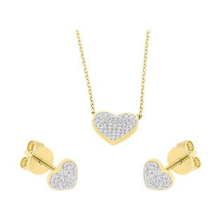 Zestaw złoty naszyjnik i kolczyki serce z diamentami AW 66698 Y-05794 Y próba 585