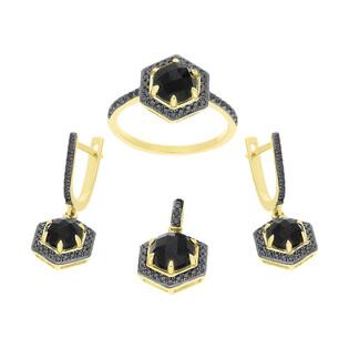 Zestaw złoty z czarnym agatem i diamentami AW 76396 Y-AGA sześciokąt próba 585