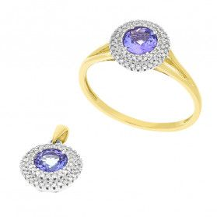 Zestaw złoty z tanzanitem i białymi diamentami AW 57736 YW-TA Markiza