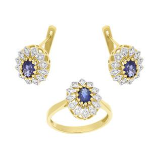 Zestaw złoty kolczyki i pierścionek z szafirem i diamentami BE W-354 szafir KATE próba 585