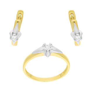 Zestaw złoty kolczyki i pierścionek z diamentami BE W-088 próba 585