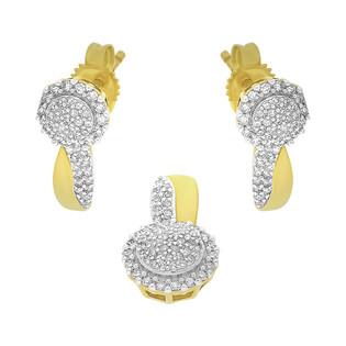 Zestaw złoty kolczyki i zawieszka z diamentami KU 102214-102861
