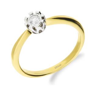Pierścionek złoty FLOWER z diamentem LC KR68102 Y próba 585