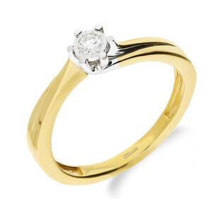 Pierścionek złoty SOLITER z diamentem LC KR55402 Y próba 585