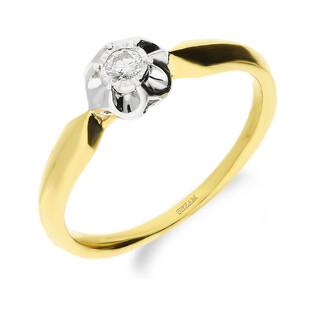 Pierścionek złoty FLOWER z diamentem LC KR6950 Y próba 585