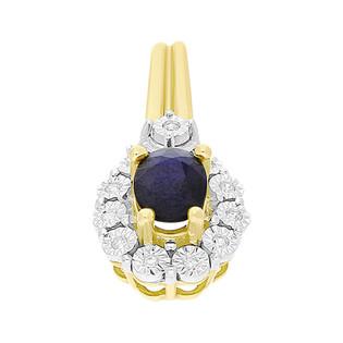 Zawieszka złota z szafirem i diamentami KU 1551-1239 SA kropla Markiza próba 585