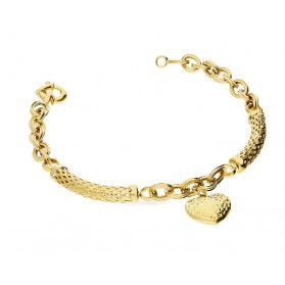 Bransoleta złota z wypukłym sercem i dwoma pałąkami/rolo AR VXXHOB10771-DC próba 585