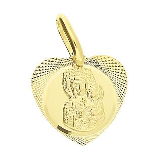 Medalik złoty Częstochowska w grawerowanym sercu DJ M-0831 próba 585
