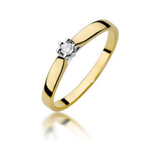 Pierścionek złoty SOLITER z diamentem BE W-222 próba 375