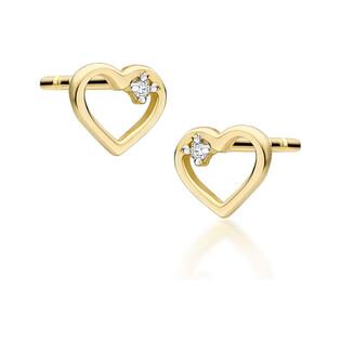 Kolczyki złote serce z diamentem/sztyft BE CK-34 próba 585